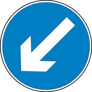Down/Left Arrow Permanent Road Sign