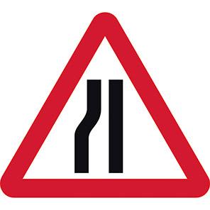 Road Narrows Left Permanent Road Sign