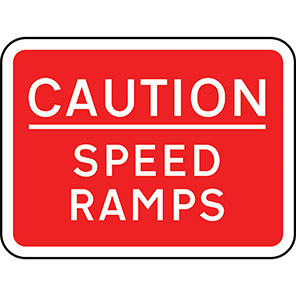Caution Speed Ramps Clamped Signs