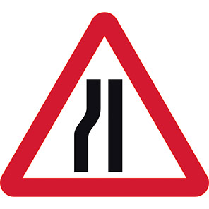 Road Narrows Left Temporary Road Signs