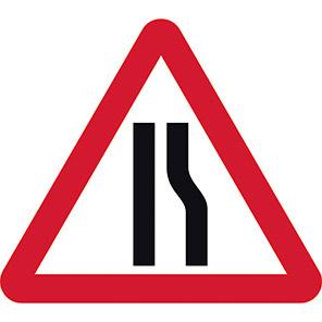 Road Narrows Right Temporary Road Signs