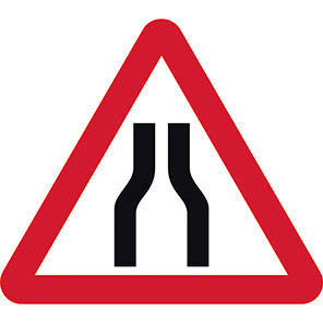 Road Narrows Both Lanes Temporary Road Signs