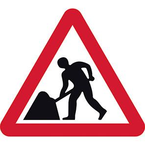 Men At Work Temporary Road Signs