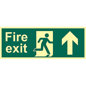 """Spectrum Industrial Photoluminescent """"Fire Exit"""" Up/Right Arrow Sign 400mm"""