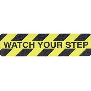 "Black/Yellow ""Watch Your Step"" Slip-Resistant Floor Cleat"