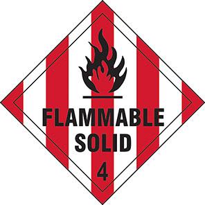 "Spectrum Industrial ""Flammable Solid 4""  Hazard Warning Diamond 100mm"