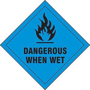 """Spectrum Industrial """"Dangerous When Wet"""" Hazard Warning Diamond 100mm"""