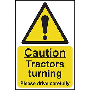 "Spectrum Industrial ""Caution Tractors Turning"" Sign"