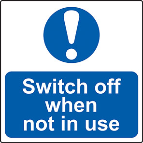 """Spectrum Industrial """"Switch Off When Not In Use"""" Label (Roll of 100)"""