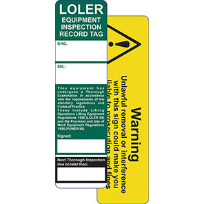 AssetTag LOLER Equipment Inspection Record Tag Kit