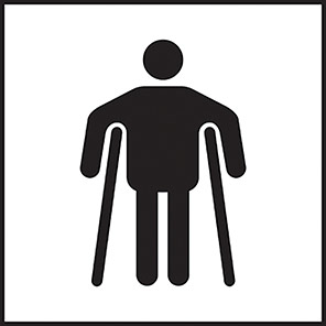 Taktyle Braille Man On Crutches Signs