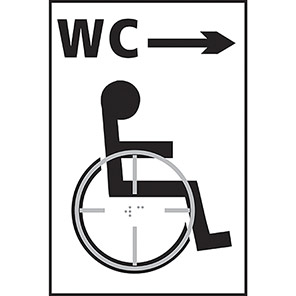 Taktyle Braille Disabled WC Arrow Right Signs