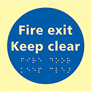 """Spectrum Industrial Photoluminescent """"Fire Exit Keep Clear"""" Taktyle Braille Sign"""