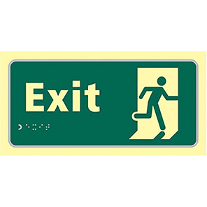 "Spectrum Industrial Photoluminescent ""Exit"" Taktyle Braille Sign"