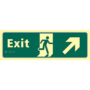 Taktyle Braille Fire Exit Up Right Signs