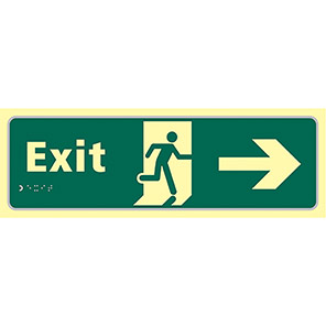Taktyle Braille Fire Exit Right Sign
