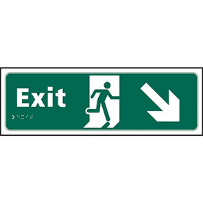 Taktyle Braille Fire Exit Down Right Sign