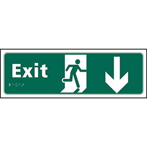 Taktyle Braille Fire Exit Down Sign