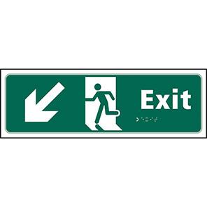 Taktyle Braille Fire Exit Down Left Sign
