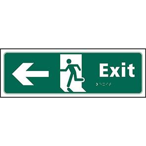 Taktyle Braille Fire Exit Left Sign