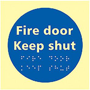 "Spectrum Industrial Photoluminescent ""Fire Door Keep Shut"" Taktyle Braille Sign"