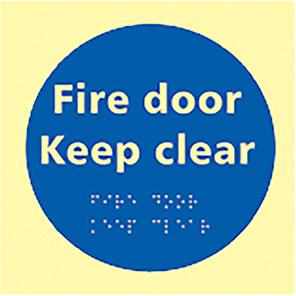 "Spectrum Industrial Photoluminescent ""Fire Door Keep Clear"" Taktyle Braille Sign"