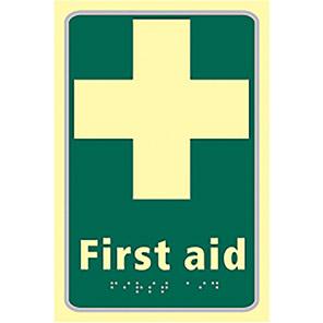 "Spectrum Industrial Photoluminescent ""First Aid"" Taktyle Braille Sign"