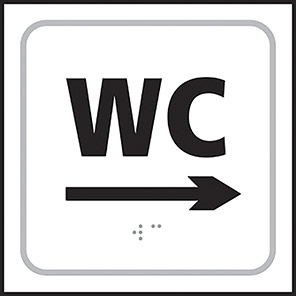 Taktyle Braille WC Right Arrow Sign