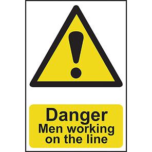"""Spectrum Industrial """"Danger Men Working On The Line"""" Sign"""