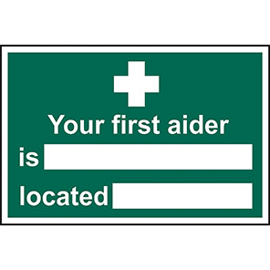 """Spectrum Industrial Self-Adhesive """"Your First Aider Is/Located"""" Sign"""