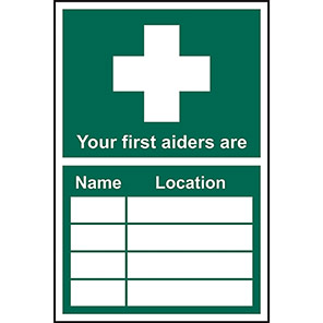 """Spectrum Industrial Self-Adhesive """"Your First Aider Is/Name/Location"""" Sign"""