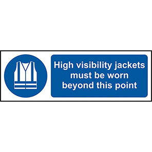 "Spectrum Industrial ""Hi-Vis Jackets Must Be Worn"" Sign 100mm x 300mm"