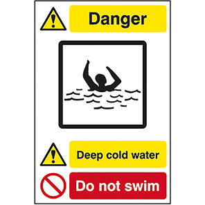 Quarry Sign Deep Cold Water