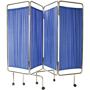 CODE RED Blue Four-Fold Medical Screen