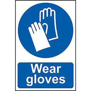 "Spectrum Industrial Self-Adhesive PVC ""Wear Gloves"" Sign"