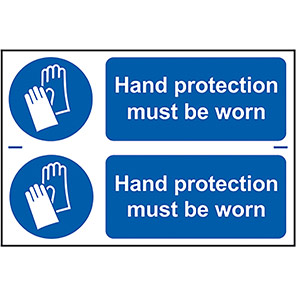 """Spectrum Industrial """"Hand Protection Must Be Worn"""" Sign (Pack of 2)"""
