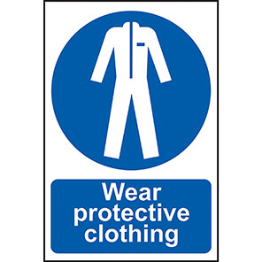 """Spectrum Industrial Self-Adhesive PVC """"Wear Protective Clothing"""" Sign"""