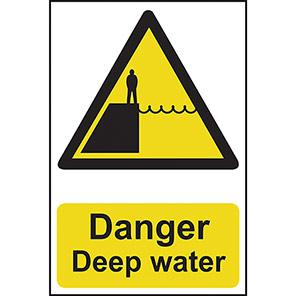 "Spectrum Industrial Self-Adhesive PVC ""Danger Deep Water"" Sign"