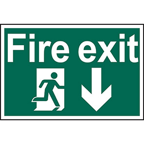 "Spectrum Industrial PVC ""Fire Exit"" Down Arrow Sign 200mm x 300mm"