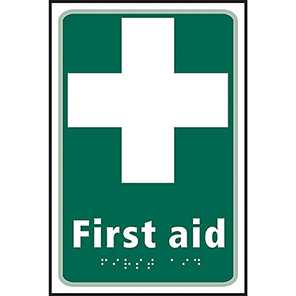 """Spectrum Industrial Self-Adhesive """"First Aid"""" Taktyle Braille Sign"""