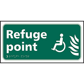 """Spectrum Industrial Self-Adhesive """"Refuge Point"""" Taktyle Braille Sign"""
