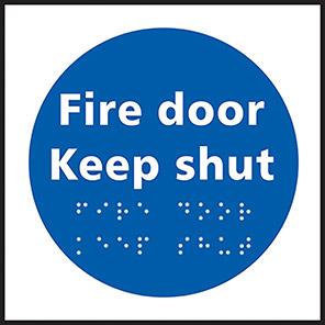 "Spectrum Industrial Self-Adhesive ""Fire Door Keep Shut"" Taktyle Braille Sign"
