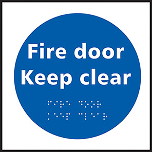 "Spectrum Industrial Self-Adhesive ""Fire Door Keep Clear"" Taktyle Braille Sign"