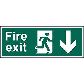"Spectrum Industrial PVC ""Fire Exit"" Down Arrow Sign 150mm x 400mm"
