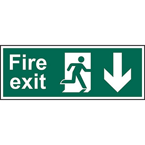 """Spectrum Industrial Double-Sided """"Fire Exit"""" Down Arrow Sign"""