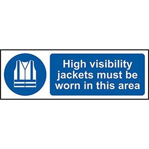 "Spectrum Industrial ""Hi-Vis Jackets Must Be Worn"" Sign 200mm x 600mm"