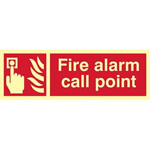 "Spectrum Industrial Photoluminescent ""Fire Alarm Call Point"" Sign 100mm x 300mm"