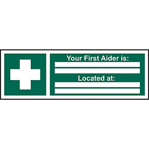 """Spectrum Industrial Vinyl """"Your First Aider Is/Located At"""" Sign 100mm x 300mm"""