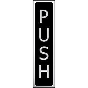 "Spectrum Industrial Black/Steel Effect Vertical ""Push"" Sign"