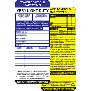 ClawTag Tower Scaffold Safety Insert Tag (Pack of 50)